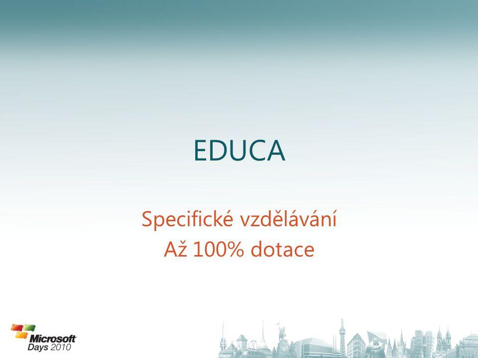 EDUCA Specifické vzdělávání Až 100% dotace
