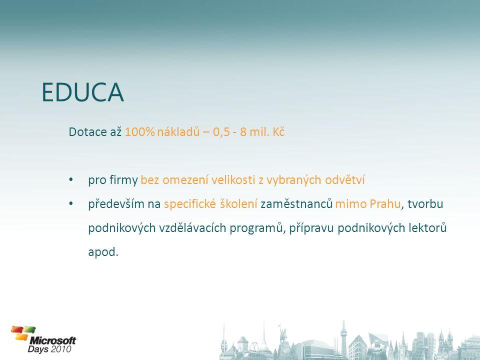 EDUCA Dotace až 100% nákladů – 0,5 - 8 mil.