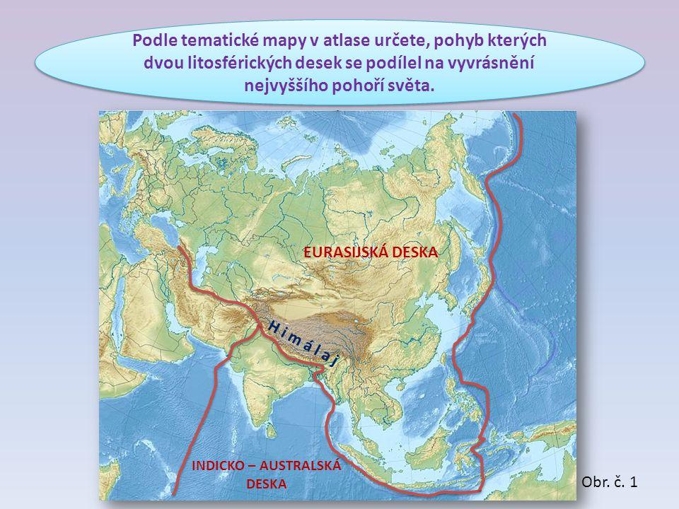 Podle tematické mapy v atlase určete, pohyb kterých dvou litosférických desek se podílel na vyvrásnění nejvyššího pohoří světa. INDICKO – AUSTRALSKÁ D