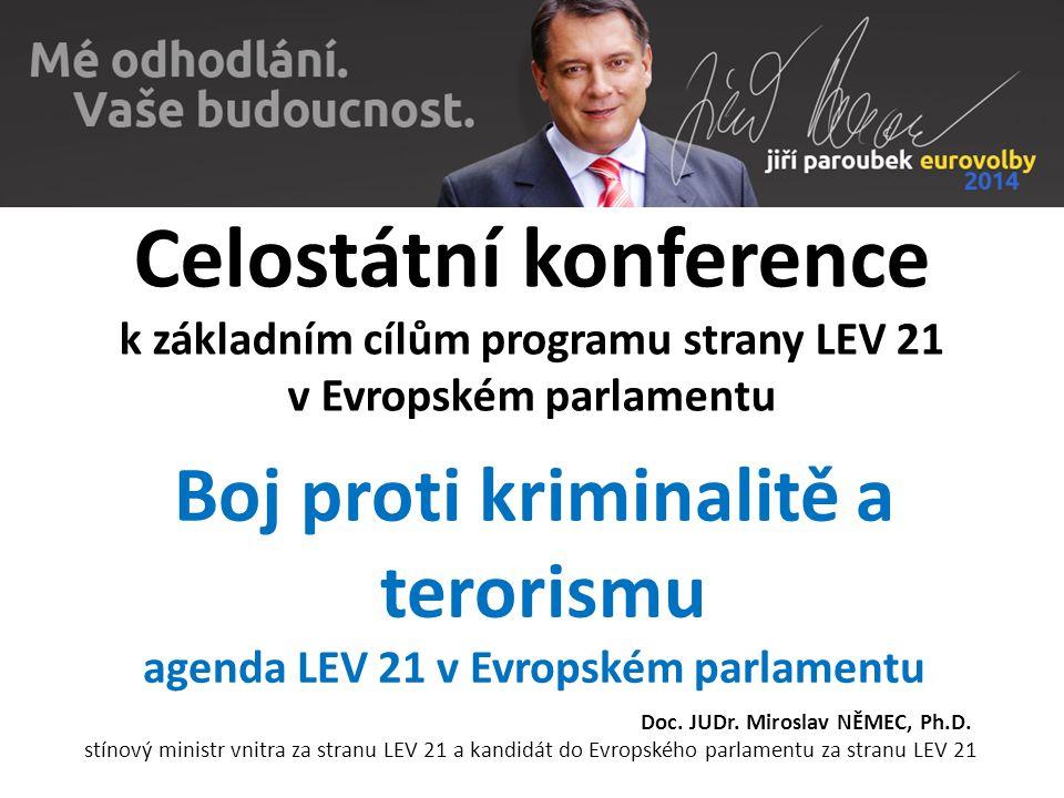 Celostátní konference k základním cílům programu strany LEV 21 v Evropském parlamentu Boj proti kriminalitě a terorismu agenda LEV 21 v Evropském parlamentu Doc.