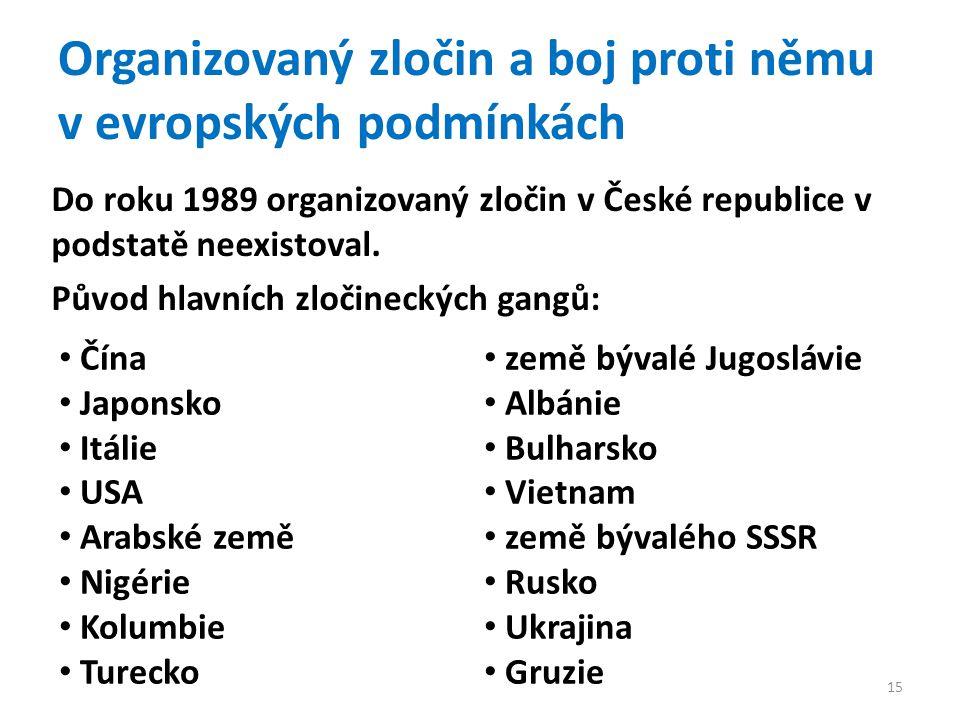 Organizovaný zločin a boj proti němu v evropských podmínkách Do roku 1989 organizovaný zločin v České republice v podstatě neexistoval.