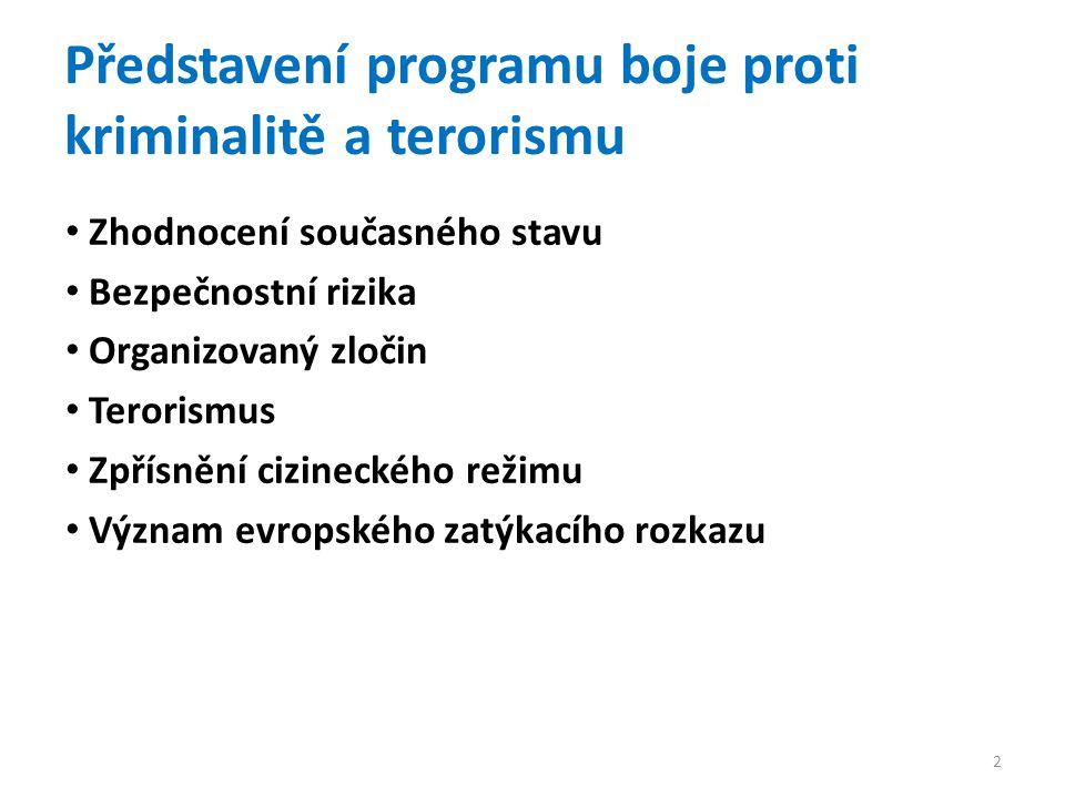 Zhodnocení současného stavu Bezpečnostní rizika Organizovaný zločin Terorismus Zpřísnění cizineckého režimu Význam evropského zatýkacího rozkazu Představení programu boje proti kriminalitě a terorismu 2