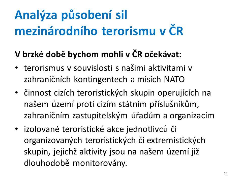 Analýza působení sil mezinárodního terorismu v ČR V brzké době bychom mohli v ČR očekávat: terorismus v souvislosti s našimi aktivitami v zahraničních kontingentech a misích NATO činnost cizích teroristických skupin operujících na našem území proti cizím státním příslušníkům, zahraničním zastupitelským úřadům a organizacím izolované teroristické akce jednotlivců či organizovaných teroristických či extremistických skupin, jejichž aktivity jsou na našem území již dlouhodobě monitorovány.