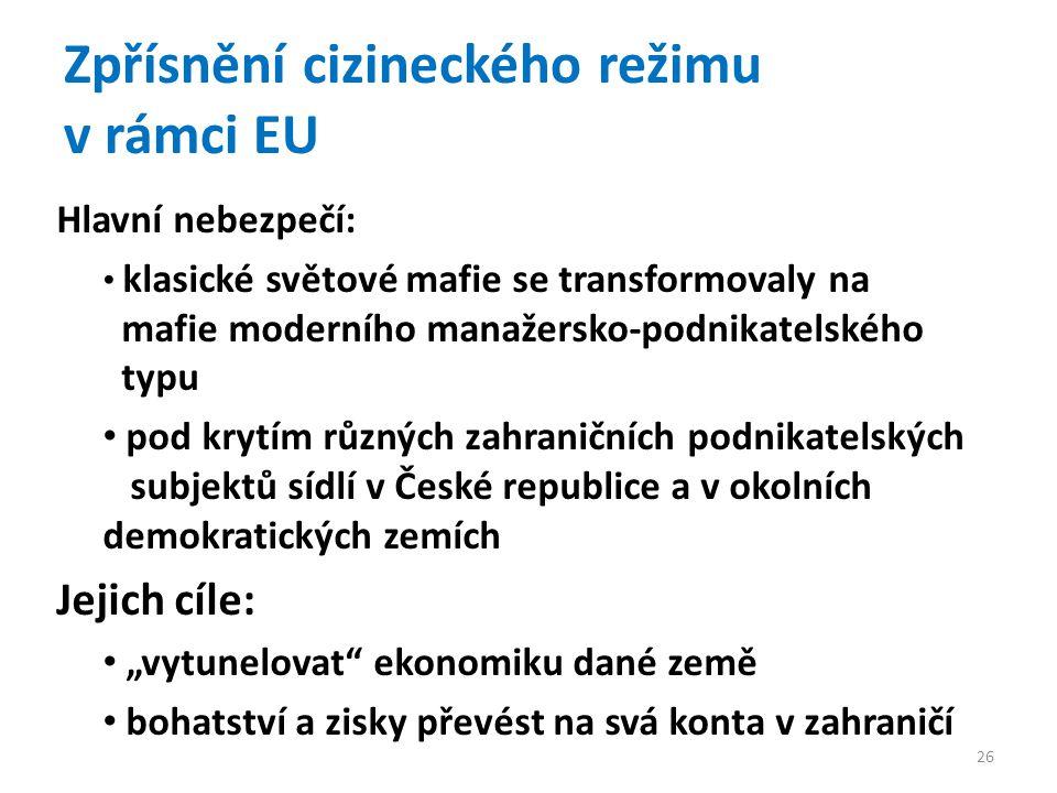 """Zpřísnění cizineckého režimu v rámci EU Hlavní nebezpečí: klasické světové mafie se transformovaly na mafie moderního manažersko-podnikatelského typu pod krytím různých zahraničních podnikatelských subjektů sídlí v České republice a v okolních demokratických zemích Jejich cíle: """"vytunelovat ekonomiku dané země bohatství a zisky převést na svá konta v zahraničí 26"""
