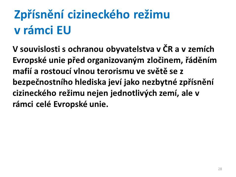 Zpřísnění cizineckého režimu v rámci EU V souvislosti s ochranou obyvatelstva v ČR a v zemích Evropské unie před organizovaným zločinem, řáděním mafií a rostoucí vlnou terorismu ve světě se z bezpečnostního hlediska jeví jako nezbytné zpřísnění cizineckého režimu nejen jednotlivých zemí, ale v rámci celé Evropské unie.