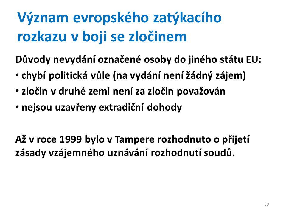 Význam evropského zatýkacího rozkazu v boji se zločinem Důvody nevydání označené osoby do jiného státu EU: chybí politická vůle (na vydání není žádný zájem) zločin v druhé zemi není za zločin považován nejsou uzavřeny extradiční dohody Až v roce 1999 bylo v Tampere rozhodnuto o přijetí zásady vzájemného uznávání rozhodnutí soudů.