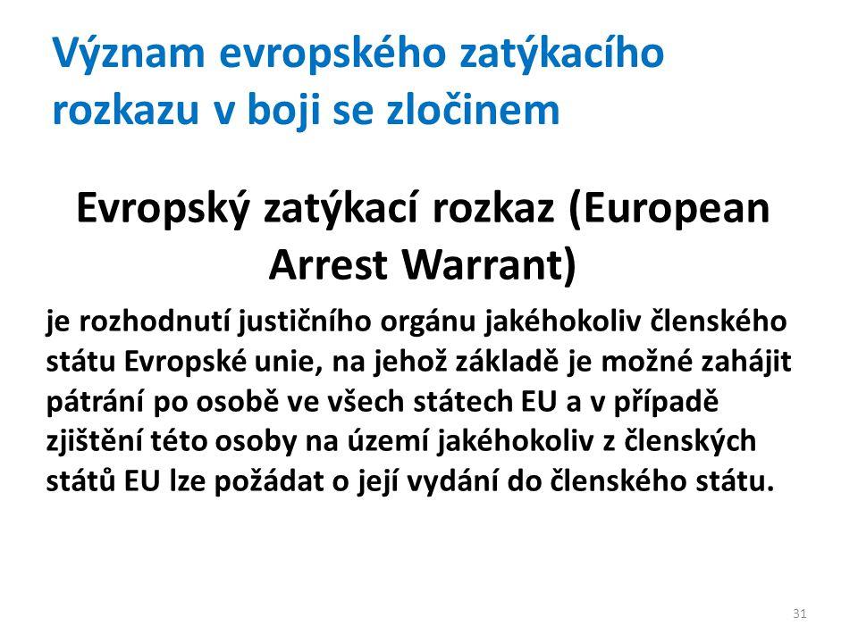 Význam evropského zatýkacího rozkazu v boji se zločinem Evropský zatýkací rozkaz (European Arrest Warrant) je rozhodnutí justičního orgánu jakéhokoliv členského státu Evropské unie, na jehož základě je možné zahájit pátrání po osobě ve všech státech EU a v případě zjištění této osoby na území jakéhokoliv z členských států EU lze požádat o její vydání do členského státu.