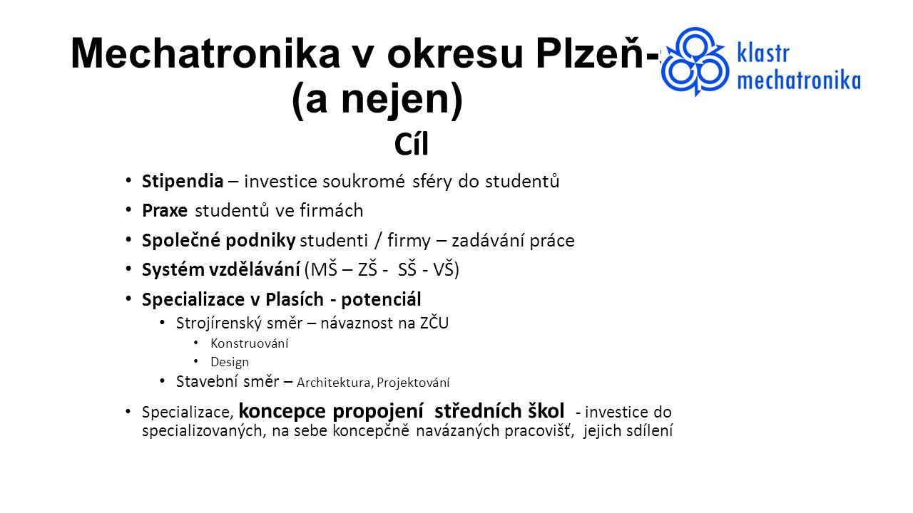 Mechatronika v okresu Plzeň-sever (a nejen) Cíl Stipendia – investice soukromé sféry do studentů Praxe studentů ve firmách Společné podniky studenti /