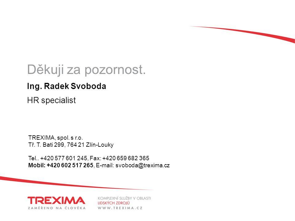 Děkuji za pozornost. Ing. Radek Svoboda HR specialist TREXIMA, spol.