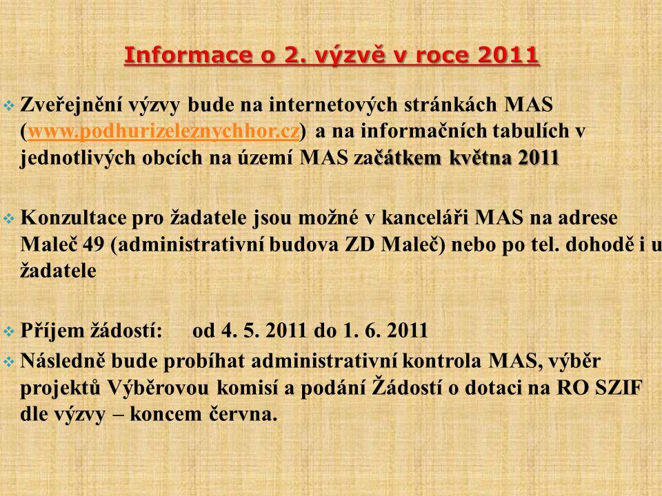  Od července cca do listopadu 2011 bude probíhat administrativní kontrola na RO SZIF  Od prosince 2011 budou jednotliví žadatelé zváni k podpisu Dohody na RO SZIF:  Zahájení realizace projektů: nejdříve od data registr.