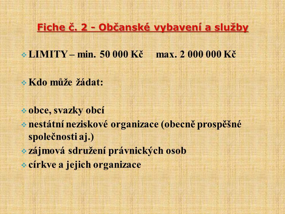  LIMITY – min. 50 000 Kč max.