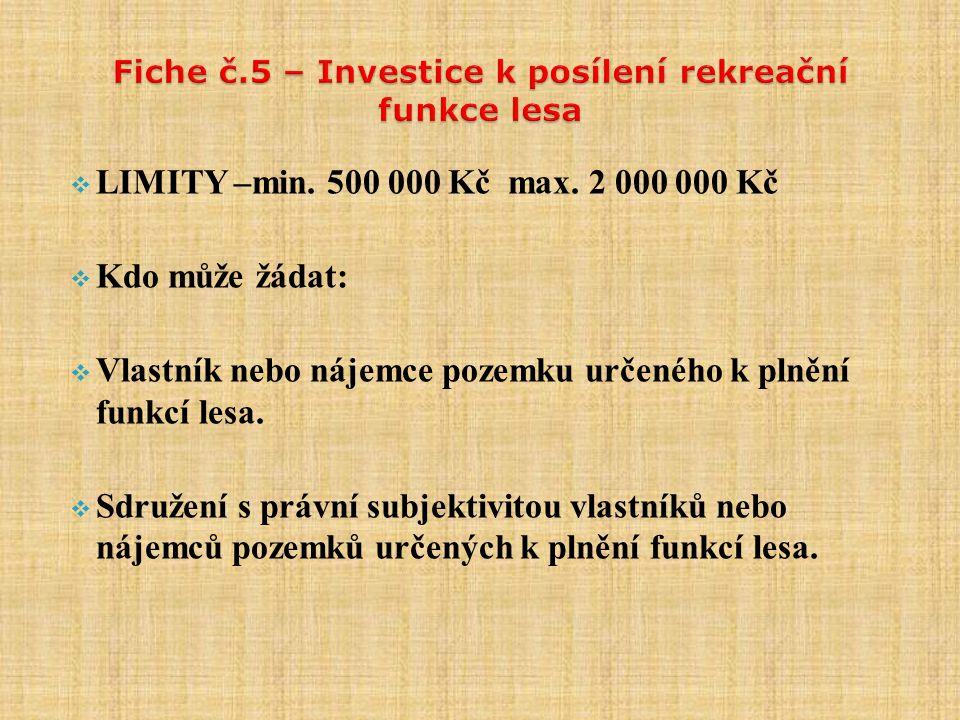  LIMITY –min. 500 000 Kč max.