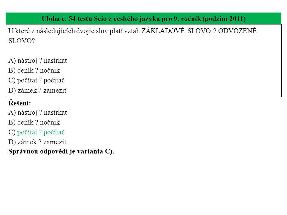 Úloha č. 54 testu Scio z českého jazyka pro 9.
