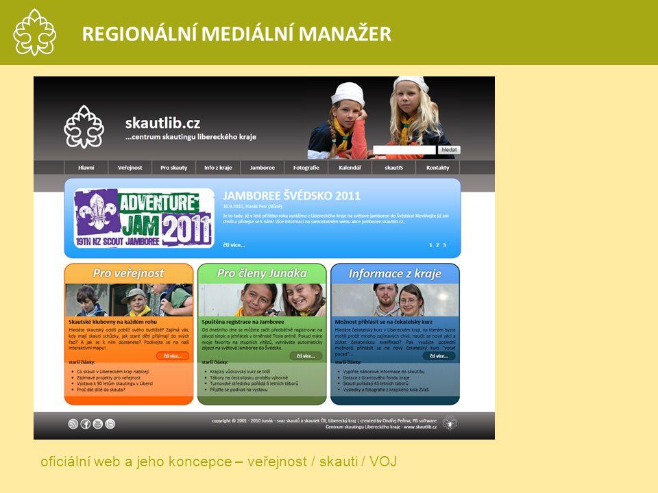 REGIONÁLNÍ MEDIÁLNÍ MANAŽER oficiální web a jeho koncepce – veřejnost / skauti / VOJ