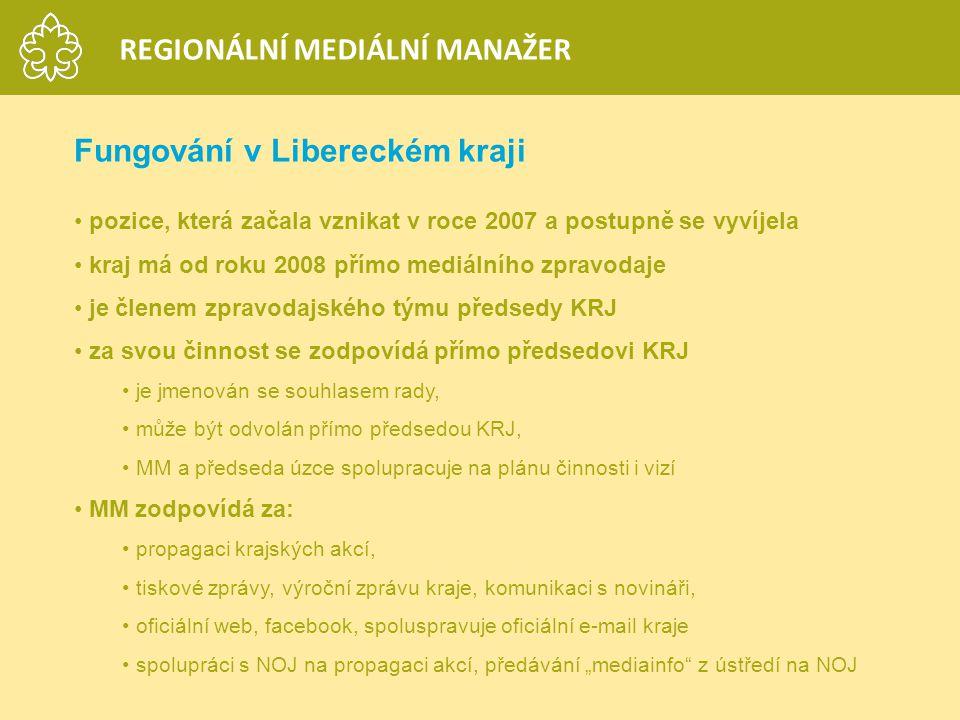 Fungování v Libereckém kraji pozice, která začala vznikat v roce 2007 a postupně se vyvíjela kraj má od roku 2008 přímo mediálního zpravodaje je člene