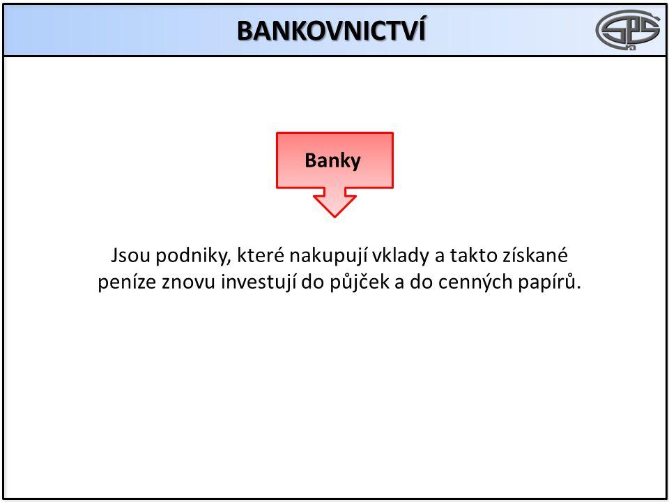 BANKOVNICTVÍ Jsou podniky, které nakupují vklady a takto získané peníze znovu investují do půjček a do cenných papírů. Banky