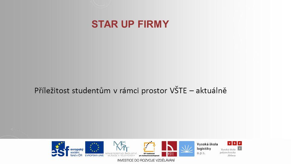 STAR UP FIRMY Příležitost studentům v rámci prostor VŠTE – aktuálně