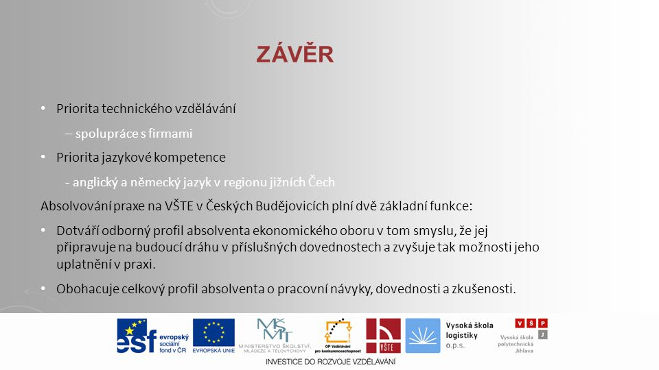 ZÁVĚR Priorita technického vzdělávání – spolupráce s firmami Priorita jazykové kompetence - anglický a německý jazyk v regionu jižních Čech Absolvován