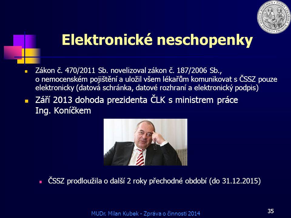 MUDr.Milan Kubek - Zpráva o činnosti 2014 Elektronické neschopenky Zákon č.