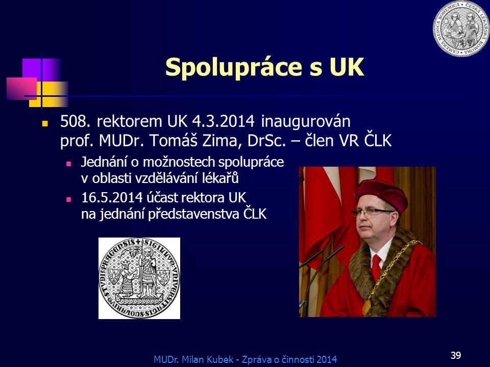 MUDr.Milan Kubek - Zpráva o činnosti 2014 Spolupráce s UK 508.