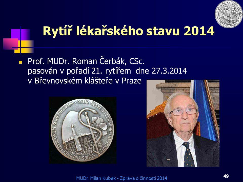 MUDr.Milan Kubek - Zpráva o činnosti 2014 49 Rytíř lékařského stavu 2014 Prof.