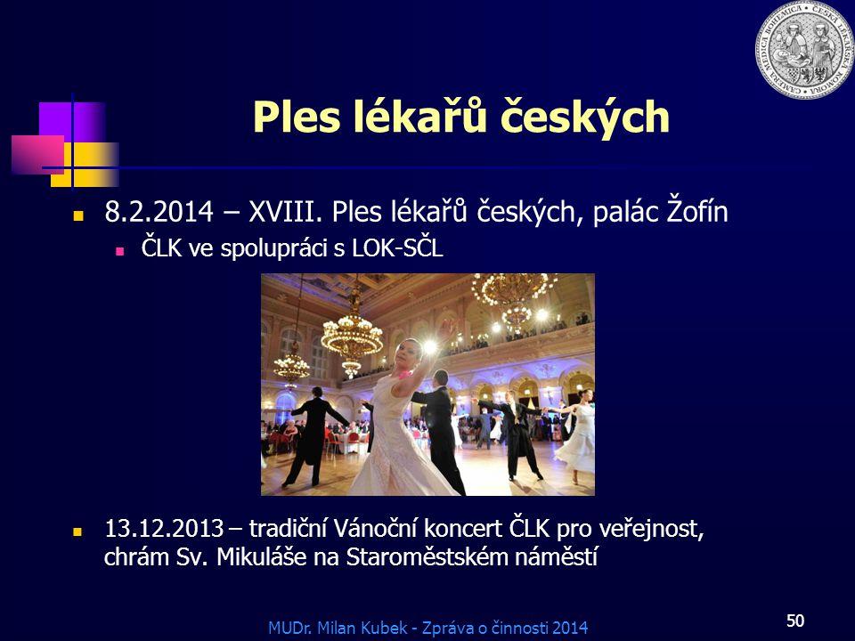 MUDr.Milan Kubek - Zpráva o činnosti 2014 Ples lékařů českých 8.2.2014 – XVIII.