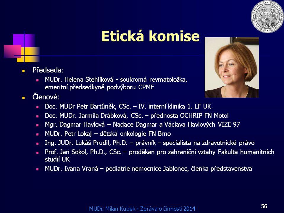 MUDr.Milan Kubek - Zpráva o činnosti 2014 56 Etická komise Předseda: MUDr.