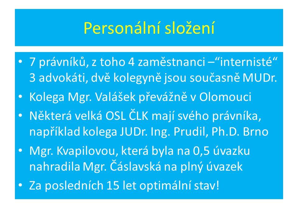"""Personální složení 7 právníků, z toho 4 zaměstnanci –""""internisté"""" 3 advokáti, dvě kolegyně jsou současně MUDr. Kolega Mgr. Valášek převážně v Olomouci"""