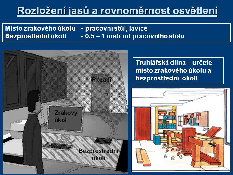 Rozložení jasů a rovnoměrnost osvětlení Místo zrakového úkolu-pracovní stůl, lavice Bezprostřední okolí-0,5 – 1 metr od pracovního stolu Truhlářská dílna – určete místo zrakového úkolu a bezprostřední okolí
