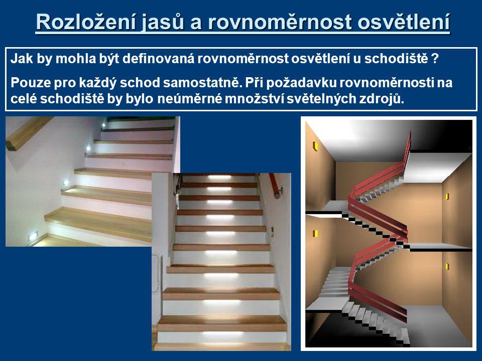 Rozložení jasů a rovnoměrnost osvětlení Jak by mohla být definovaná rovnoměrnost osvětlení u schodiště .