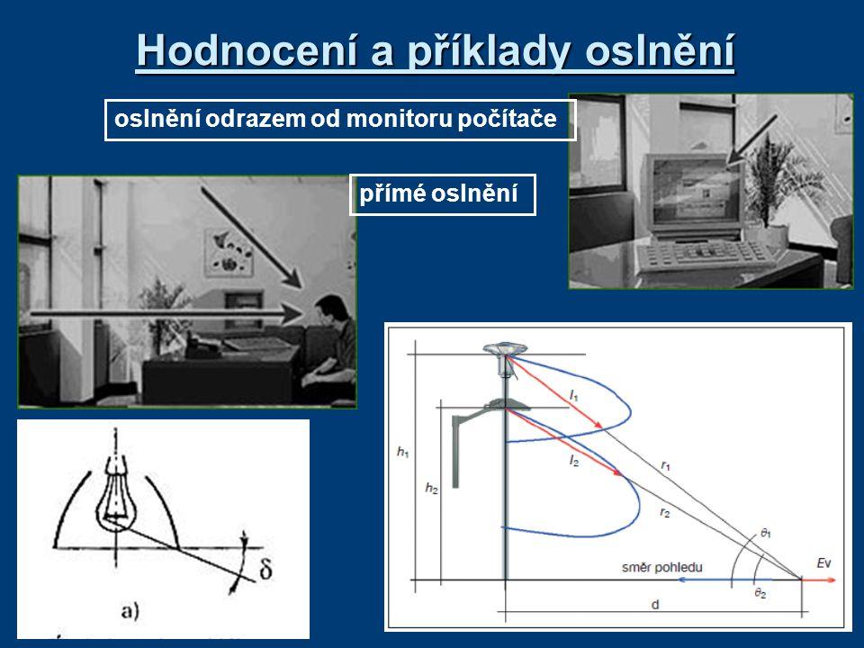 Hodnocení a příklady oslnění oslnění odrazem od monitoru počítače přímé oslnění
