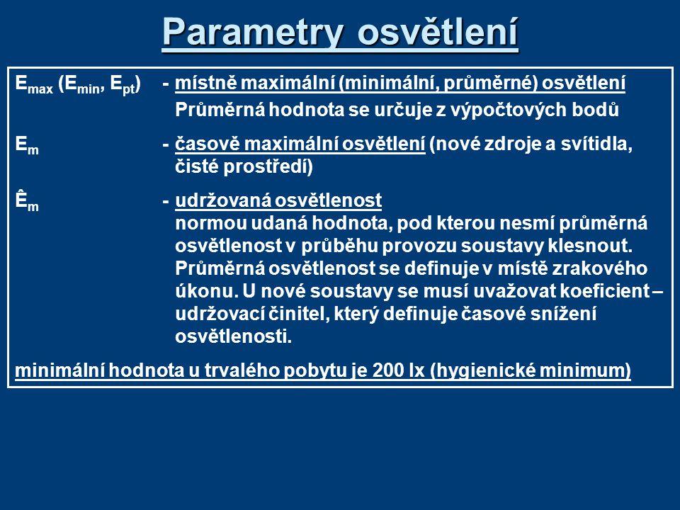 Parametry osvětlení E max (E min, E pt )-místně maximální (minimální, průměrné) osvětlení Průměrná hodnota se určuje z výpočtových bodů E m -časově ma