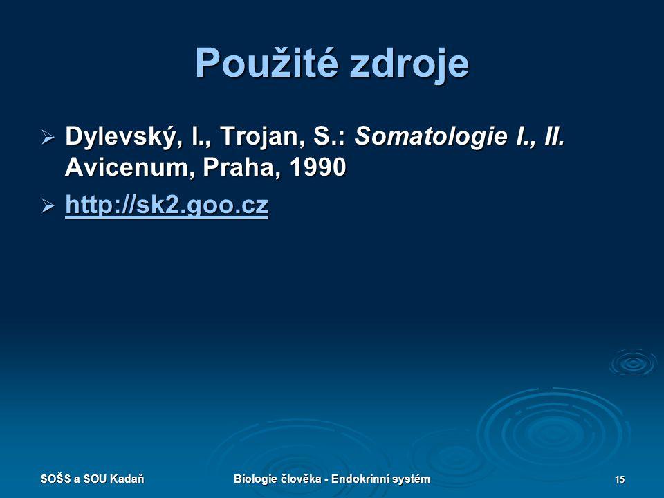 SOŠS a SOU KadaňBiologie člověka - Endokrinní systém 15 Použité zdroje  Dylevský, I., Trojan, S.: Somatologie I., II. Avicenum, Praha, 1990  http://