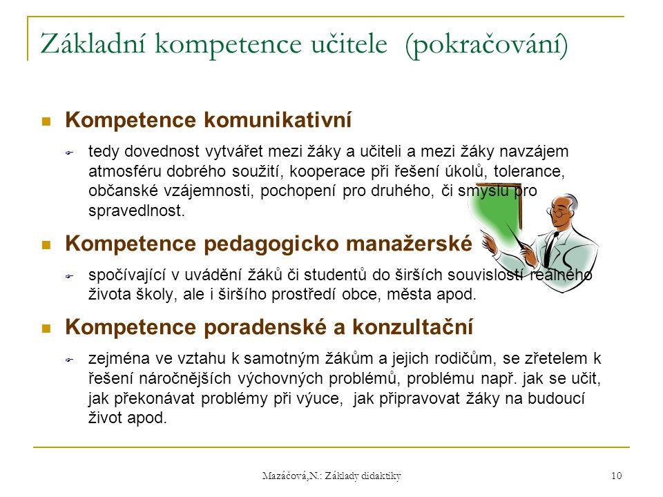 Mazáčová,N.: Základy didaktiky Základní kompetence učitele (pokračování) Kompetence komunikativní  tedy dovednost vytvářet mezi žáky a učiteli a mezi