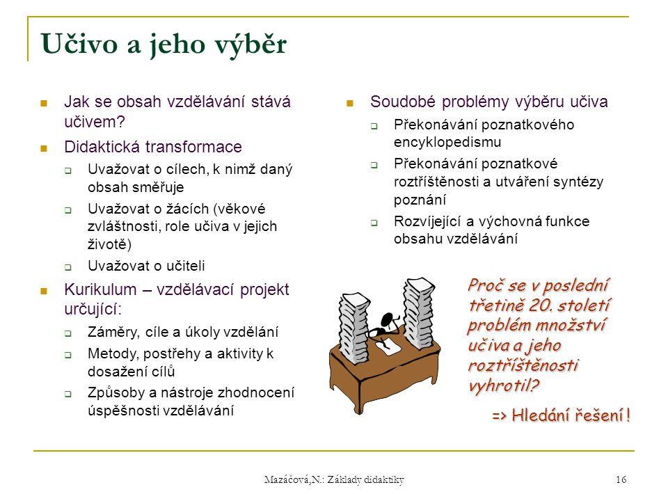Mazáčová,N.: Základy didaktiky Soudobé problémy výběru učiva  Překonávání poznatkového encyklopedismu  Překonávání poznatkové roztříštěnosti a utvář