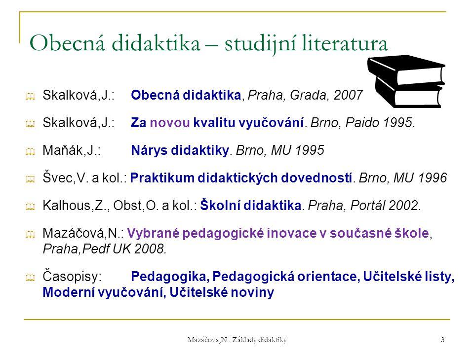 Mazáčová,N.: Základy didaktiky Obecná didaktika – studijní literatura  Skalková,J.:Obecná didaktika, Praha, Grada, 2007  Skalková,J.:Za novou kvalit