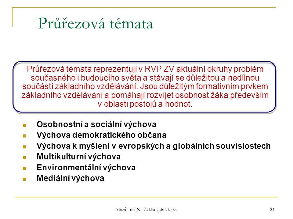 Mazáčová,N.: Základy didaktiky Průřezová témata Průřezová témata reprezentují v RVP ZV aktuální okruhy problém současného i budoucího světa a stávají