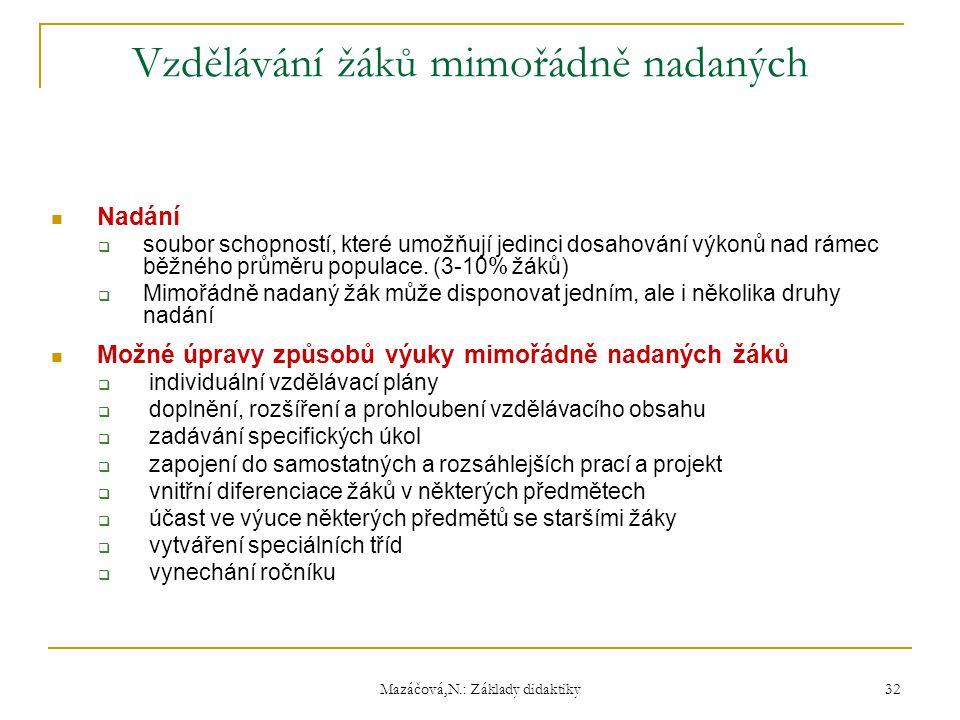 Mazáčová,N.: Základy didaktiky Vzdělávání žáků mimořádně nadaných Nadání  soubor schopností, které umožňují jedinci dosahování výkonů nad rámec běžné