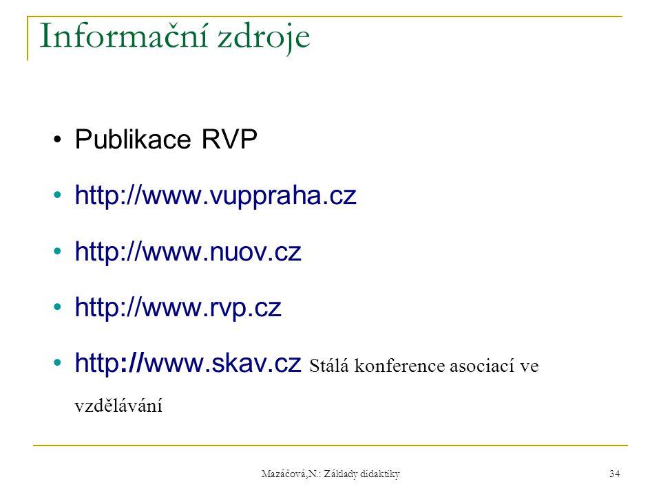 Informační zdroje Publikace RVP http://www.vuppraha.cz http://www.nuov.cz http://www.rvp.cz http://www.skav.cz Stálá konference asociací ve vzdělávání