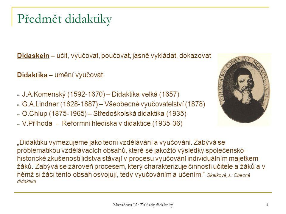 Mazáčová,N.: Základy didaktiky Předmět didaktiky Didaskein – učit, vyučovat, poučovat, jasně vykládat, dokazovat Didaktika – umění vyučovat J.A.Komens