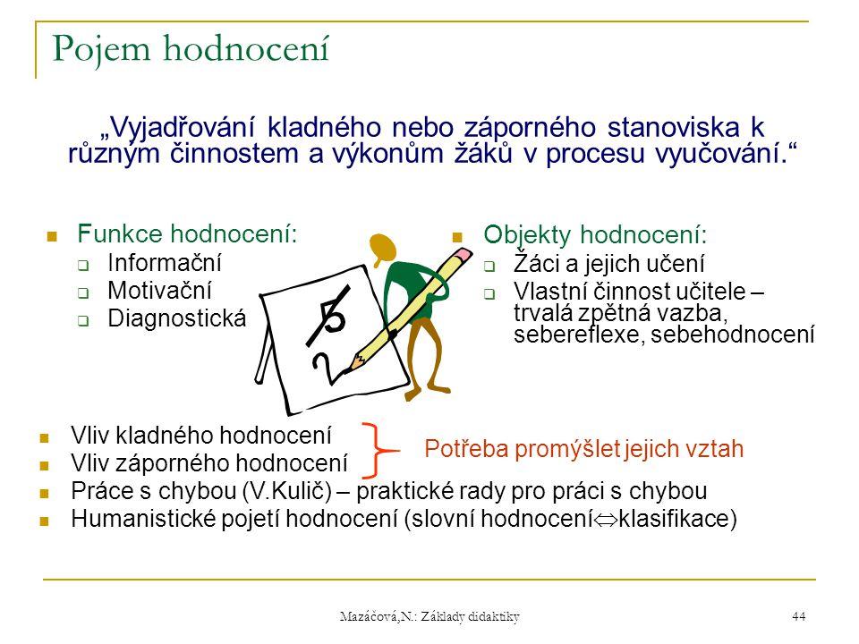 """Mazáčová,N.: Základy didaktiky Pojem hodnocení Funkce hodnocení:  Informační  Motivační  Diagnostická """"Vyjadřování kladného nebo záporného stanovis"""