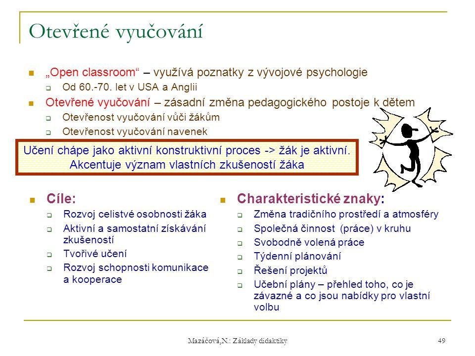 """Mazáčová,N.: Základy didaktiky Otevřené vyučování """" Open classroom"""" – využívá poznatky z vývojové psychologie  Od 60.-70. let v USA a Anglii Otevřené"""
