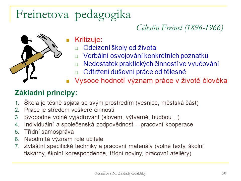 Mazáčová,N.: Základy didaktiky Freinetova pedagogika Célestin Freinet (1896-1966) Kritizuje:  Odcizení školy od života  Verbální osvojování konkrétn