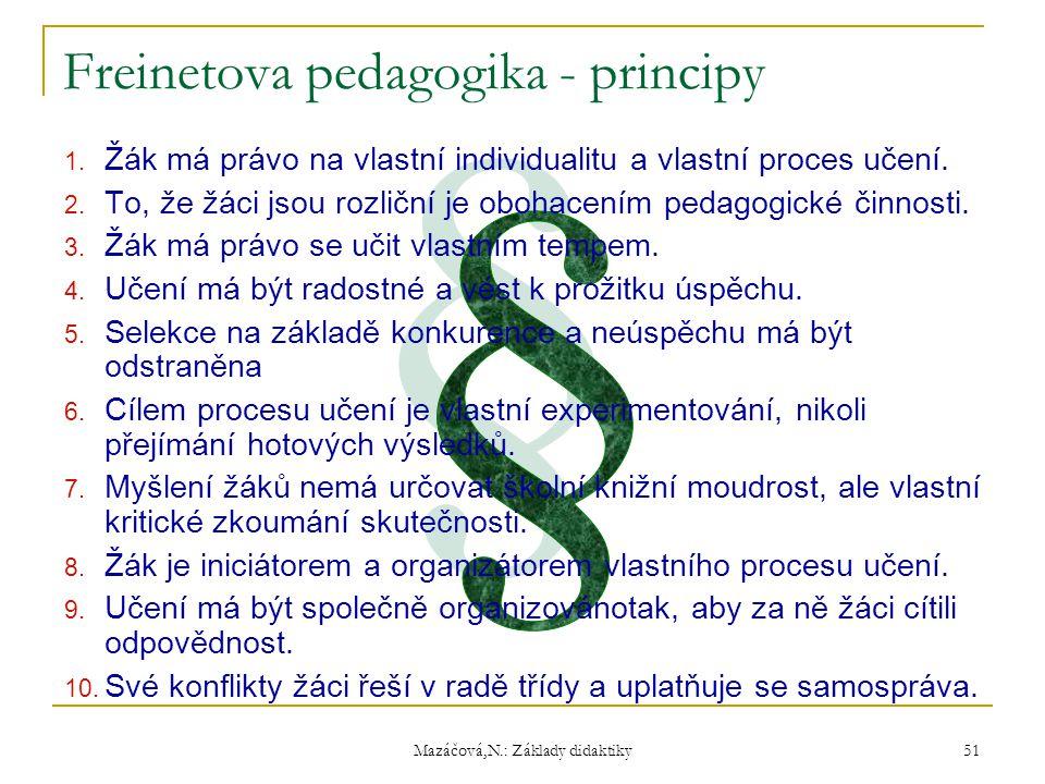 Mazáčová,N.: Základy didaktiky 1. Žák má právo na vlastní individualitu a vlastní proces učení. 2. To, že žáci jsou rozliční je obohacením pedagogické