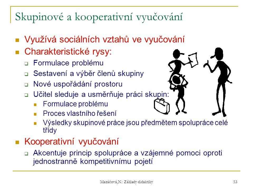 Mazáčová,N.: Základy didaktiky Skupinové a kooperativní vyučování Využívá sociálních vztahů ve vyučování Charakteristické rysy:  Formulace problému 