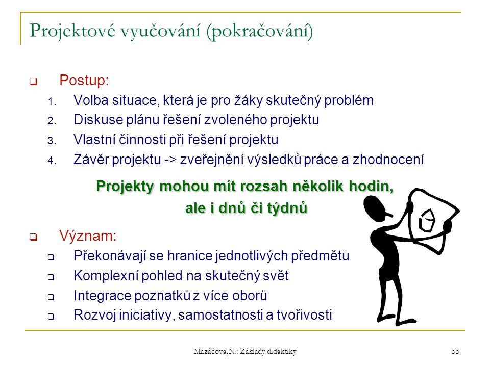 Mazáčová,N.: Základy didaktiky Projektové vyučování (pokračování)  Postup: 1. Volba situace, která je pro žáky skutečný problém 2. Diskuse plánu řeše