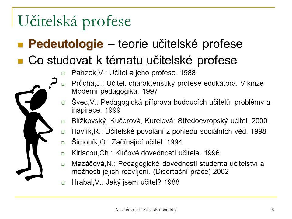 Mazáčová,N.: Základy didaktiky Učitelská profese Pedeutologie Pedeutologie – teorie učitelské profese Co studovat k tématu učitelské profese  Pařízek