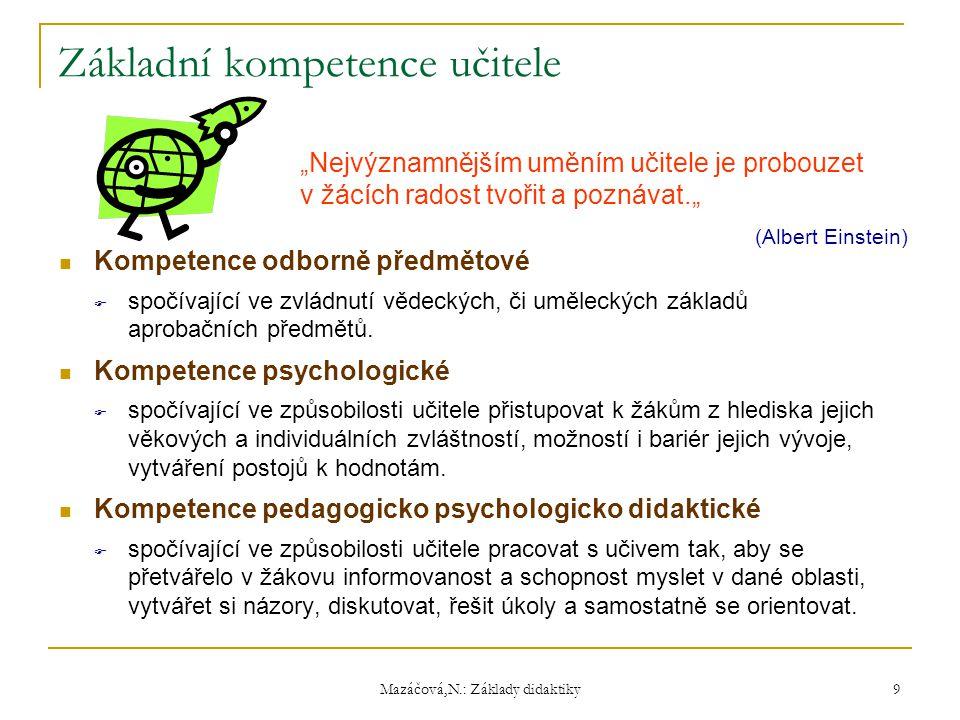 Mazáčová,N.: Základy didaktiky Základní kompetence učitele Kompetence odborně předmětové  spočívající ve zvládnutí vědeckých, či uměleckých základů a