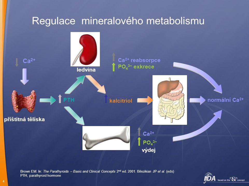 4 normální Ca 2+ Ca 2+ PO 4 3– výdej bone ledvina Ca 2+ reabsorpce PO 4 3– exkrece PTH Regulace mineralového metabolismu Brown EM.