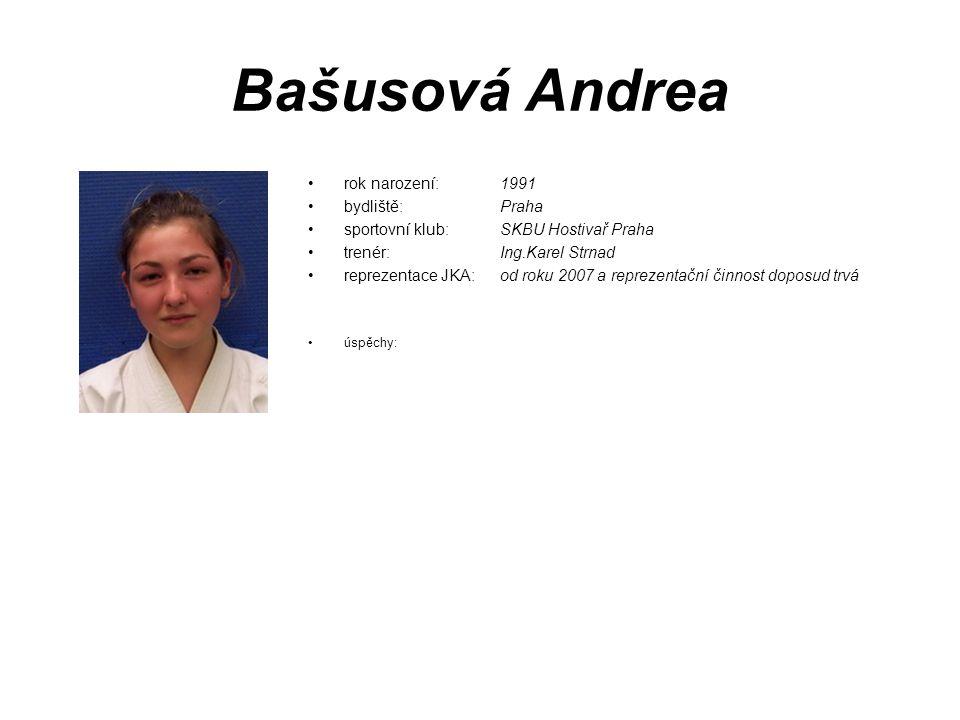 Bašusová Andrea rok narození: 1991 bydliště: Praha sportovní klub: SKBU Hostivař Praha trenér: Ing.Karel Strnad reprezentace JKA: od roku 2007 a repre